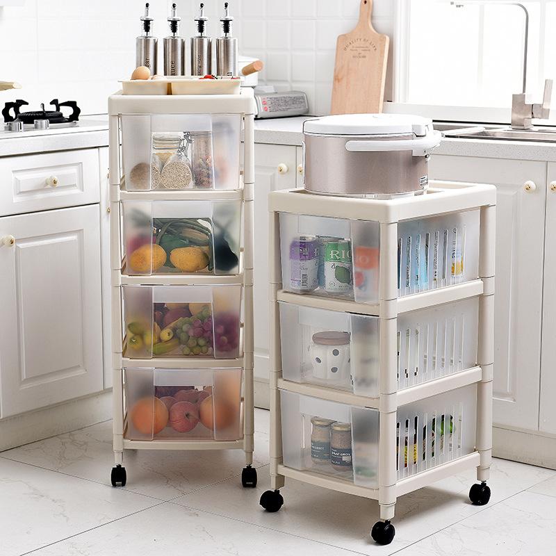 落地夹缝抽屉收纳箱透明塑料柜带滑轮收纳盒整理储物箱多层收纳柜