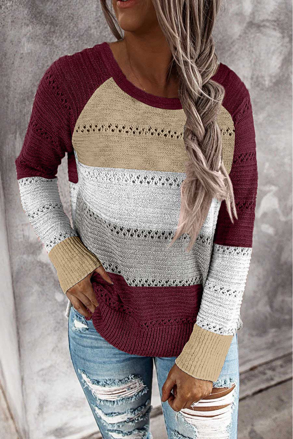 knitted long-sleeved loose fashion colorful striped round neck pullover ladies sweater  NSSI2473