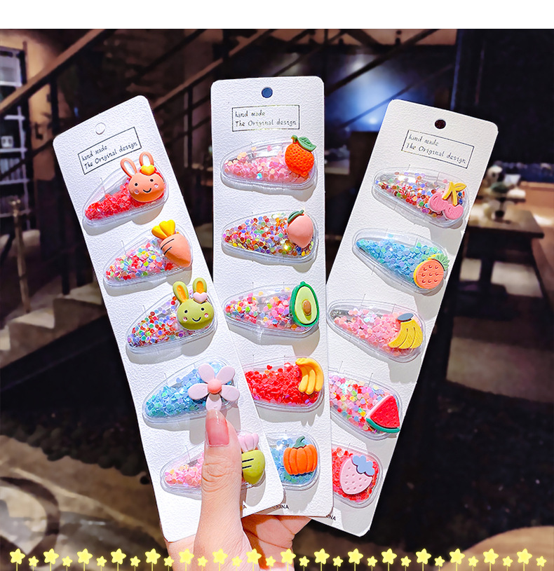 Korean version of the color quicksand transparent childrens fruit hairpin resin side clip cute little flower bb clip bangs chuck jewelry NHNA223598