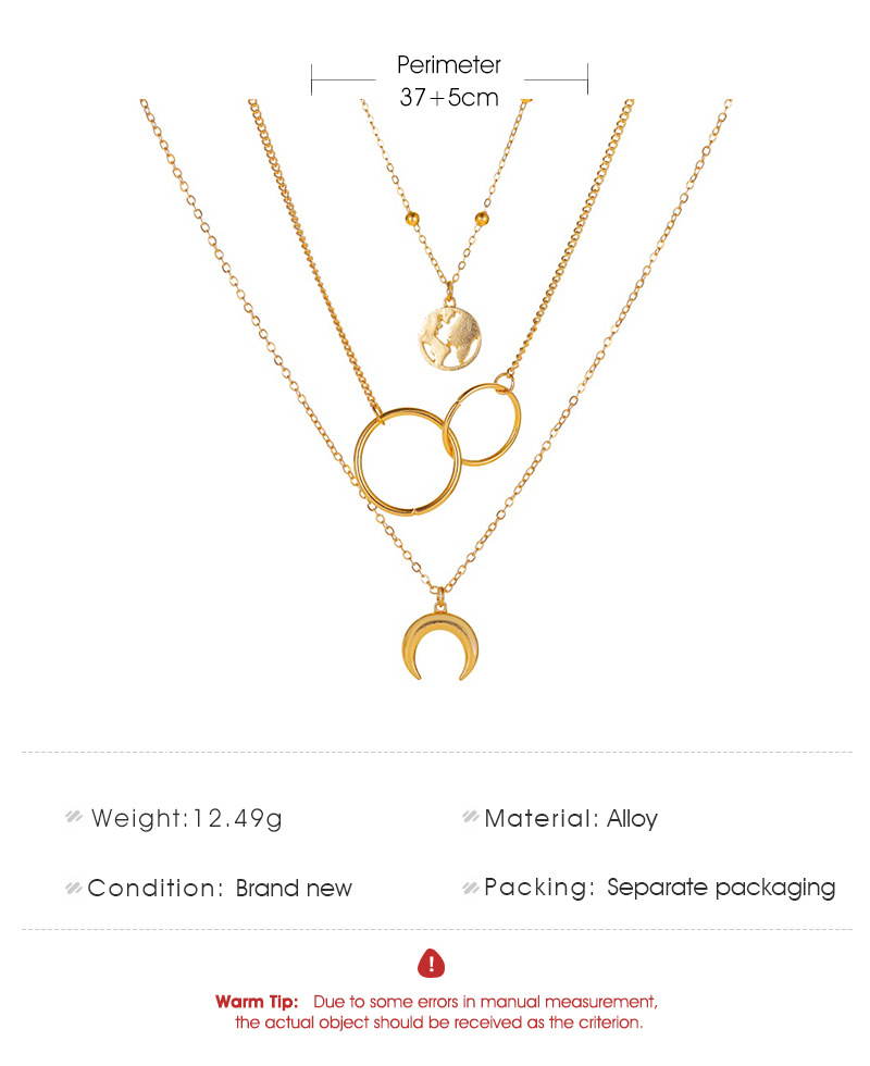 new threelayer long ring multilayer metal map moon pendant sweater chain necklace NHMO243357