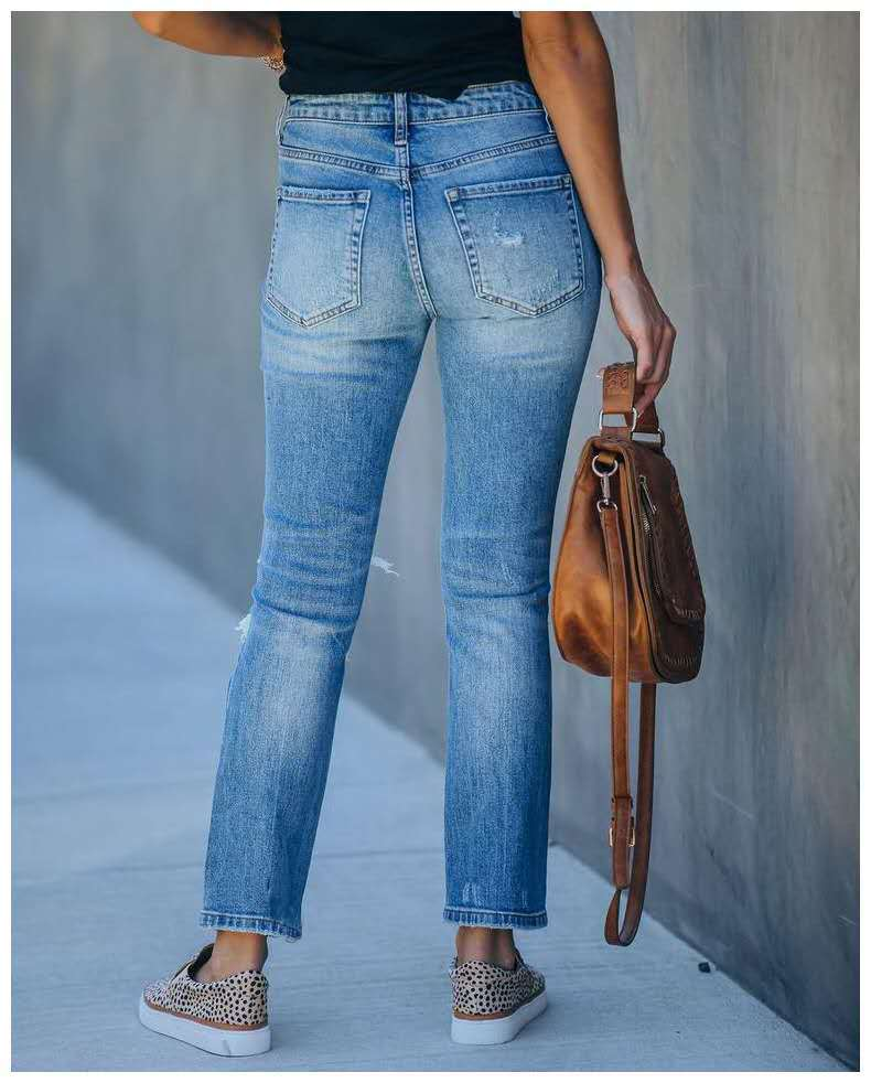new slim slimming ripped trousers mid-waist women's jeans NSYF3229