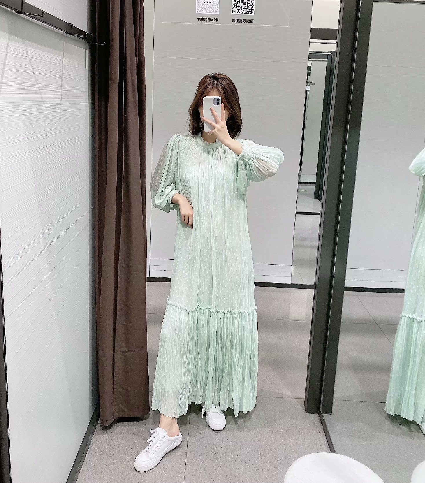 Fashion women's dress wholesale spring tulle temperament long sleeve long dress NHAM200125