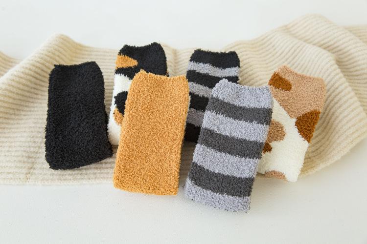 Fuzz-free coral fleece socks cat claw socks women thick fleece autumn and winter socks plush socks NSFN4066
