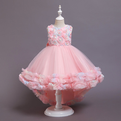 Children dress tuxedo Princess Dress Party Birthday performance dress piano performance cake mesh dress