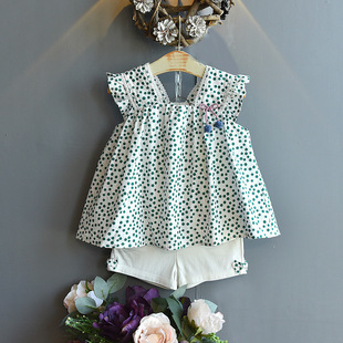 Girls' suit 2020 summer new origin printed camisole + bow shorts suit small and medium-sized girls