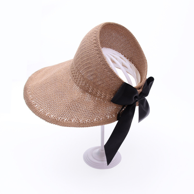 new women knitted empty top hat summer shade bow big brim hat shade straw hat personality wild  wholesale nihaojewelry NHXB218442