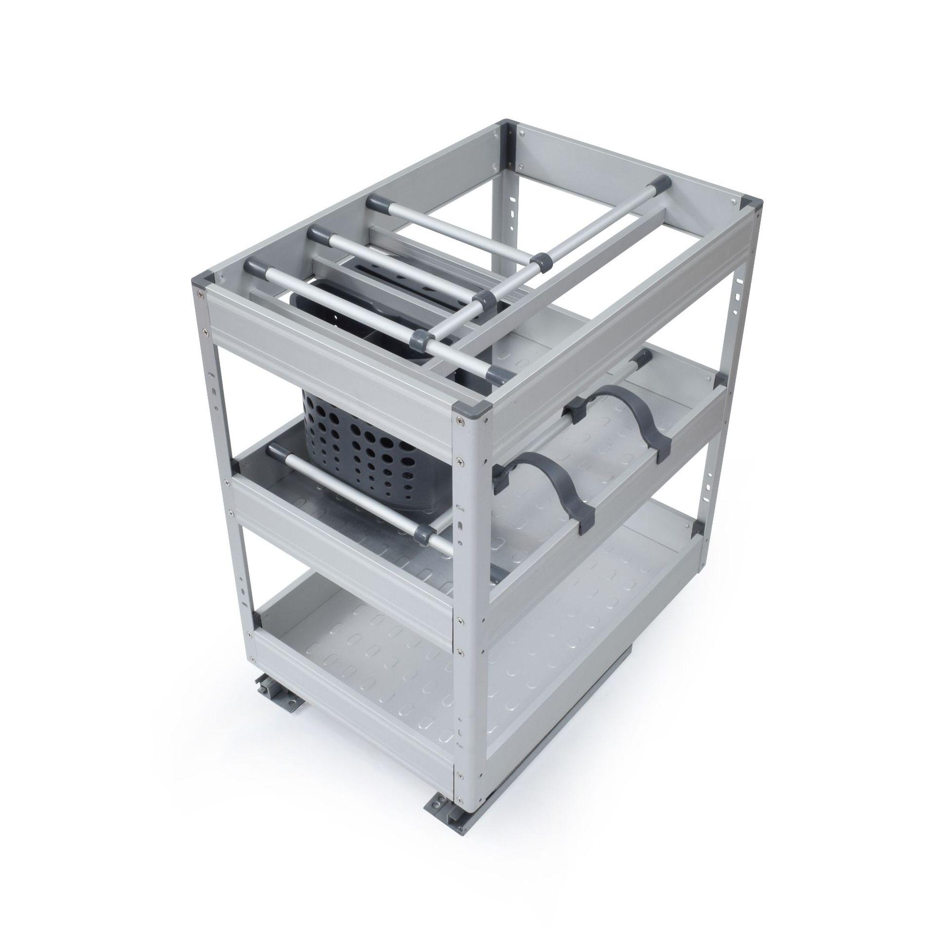 厂家直销太空铝合金抽屉拉篮 厨房橱柜拉篮调味瓶拉篮置物架350柜