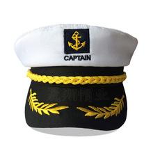 欧美海军帽白色外贸帽子男复古平顶军帽万圣节成人船长水手帽定制