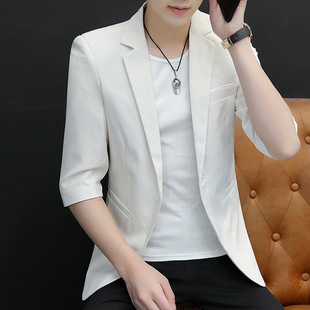 2021 new summer linen three-quarter sleeves casual small suit male handsome men's suit jacket men's thin section