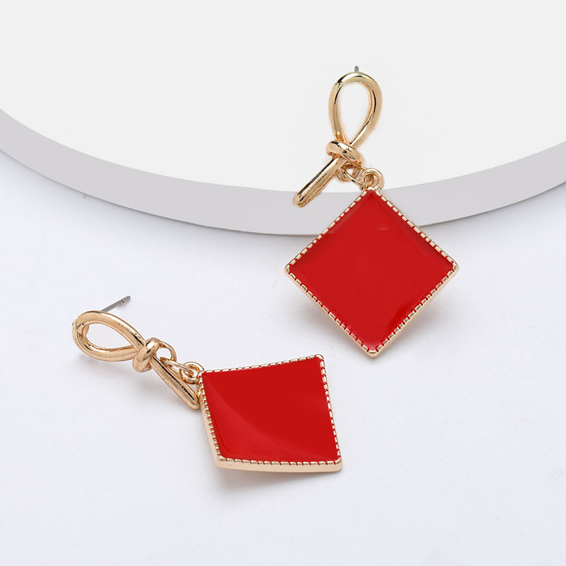 Fashion Curved Square Knotted Dripping Geometric Earrings for Women Wholesale NHJE197865
