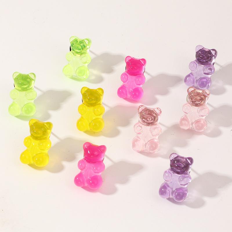 Fashion candy color bear earrings set transparent resin earrings women NHNZ198184