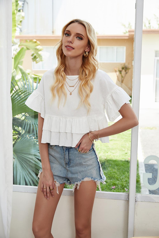 women's round neck lotus leaf sweet short sleeve women's white chiffon shirt t-shirt NSDF1520