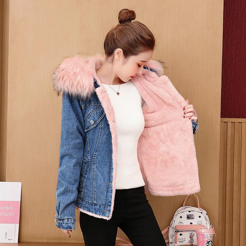 2020冬新款韩版学生宽松加绒加厚时尚短款牛仔外套女洋气减龄棉袄