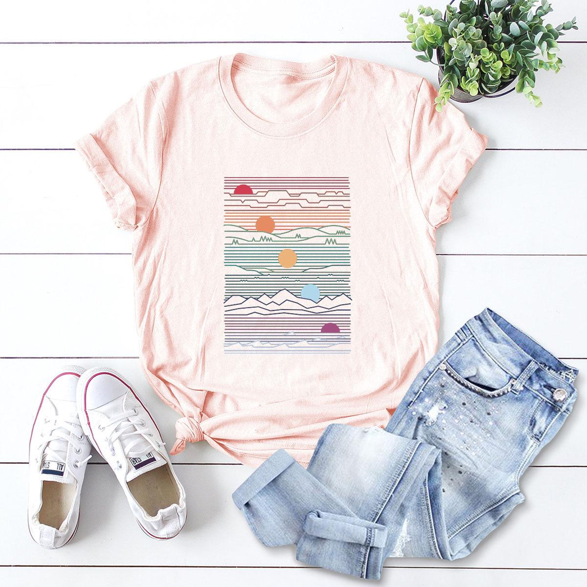 wholesale creative geometric top women's t-shirt summer short sleeve NSSN483