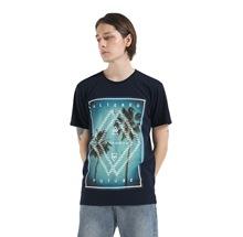 精梳棉全棉150克藏青男短袖时尚印花圆领T恤街潮前胸蓝色图案拔印