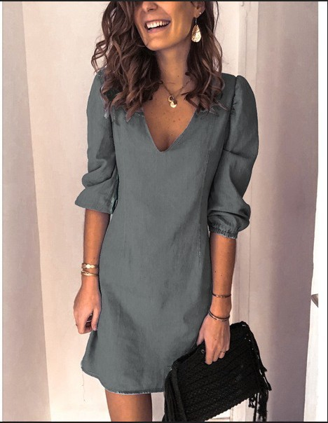 autumn new deep V neck sexy solid color all-match casual dress NSYF828