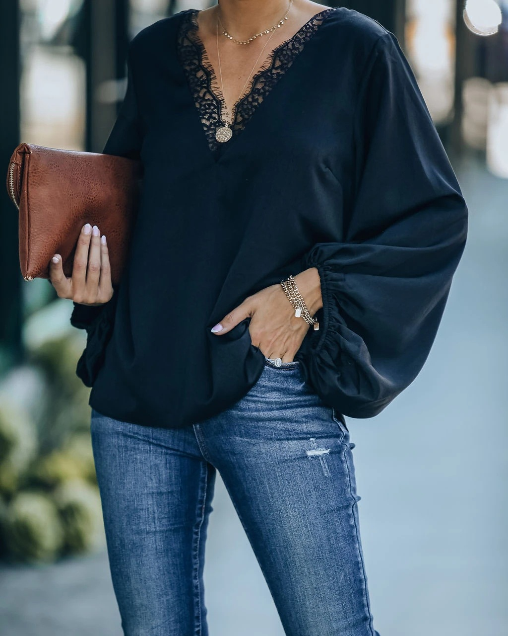 solid color V-neck lace stitching long-sleeved blouse  NSYD9386