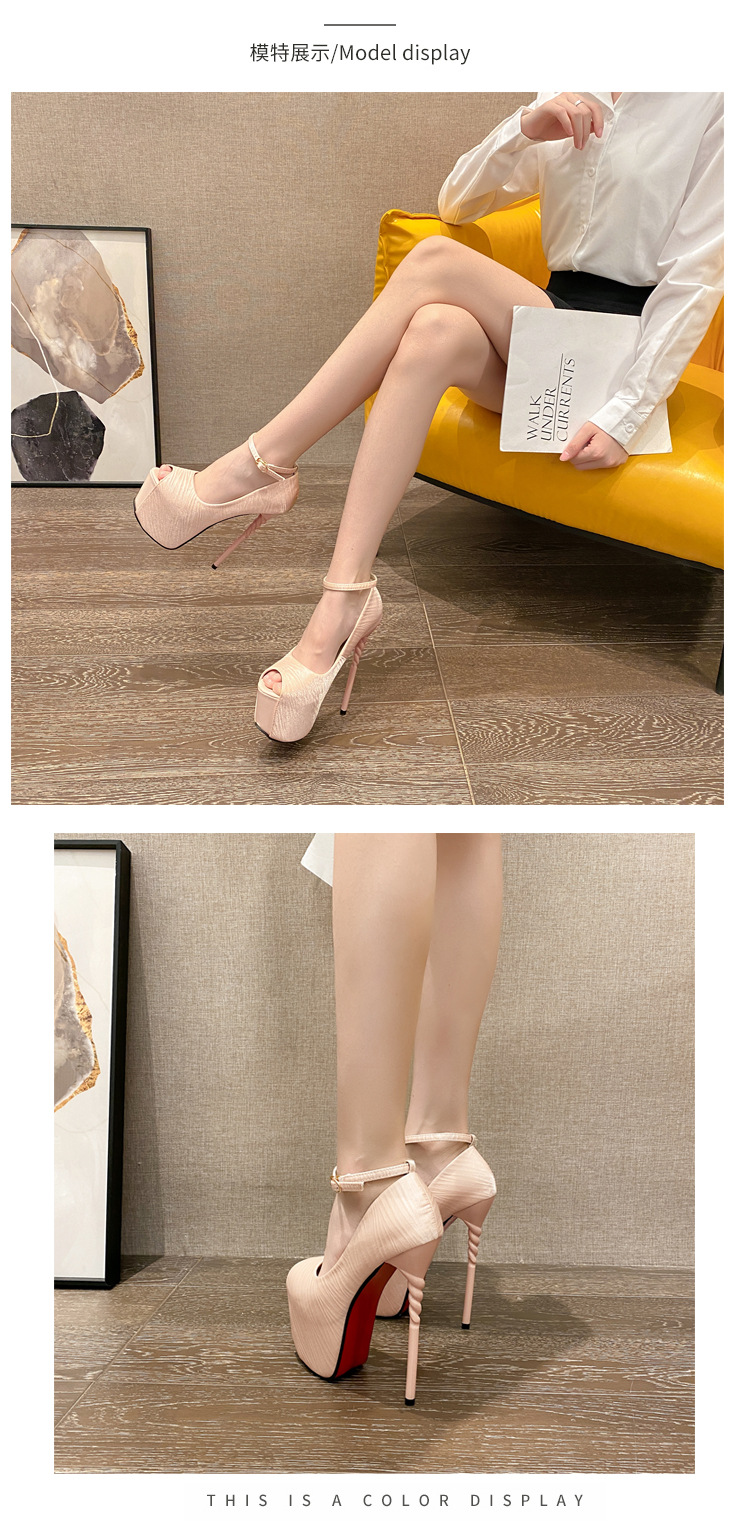 super high stiletto fish mouth waterproof platform buckle shoes NHSO284287