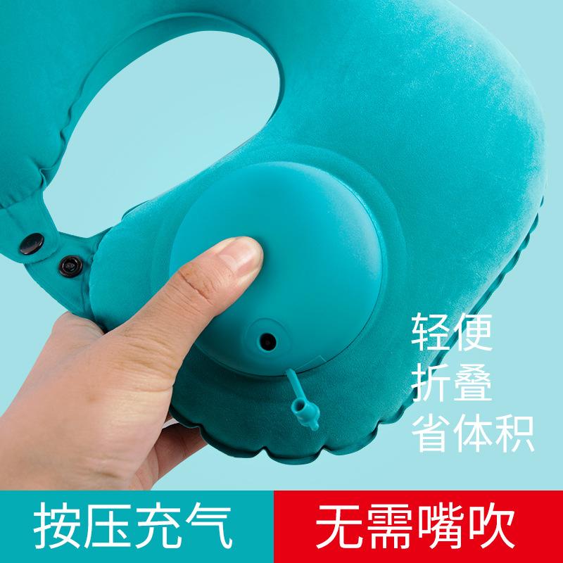 直销 汽车车用按压式充气U型枕眼罩耳塞旅游劳驾护颈枕 车载头枕