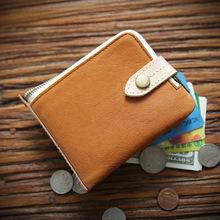 原创手工复古男士头层牛皮短款钱包休闲拉链真皮皮夹时尚欧美钱夹