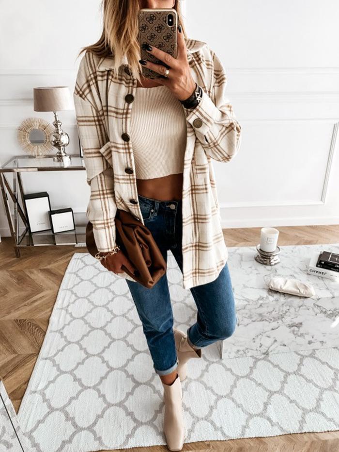 casual loose retro plaid long-sleeved shirt jacket  NSBTY62700