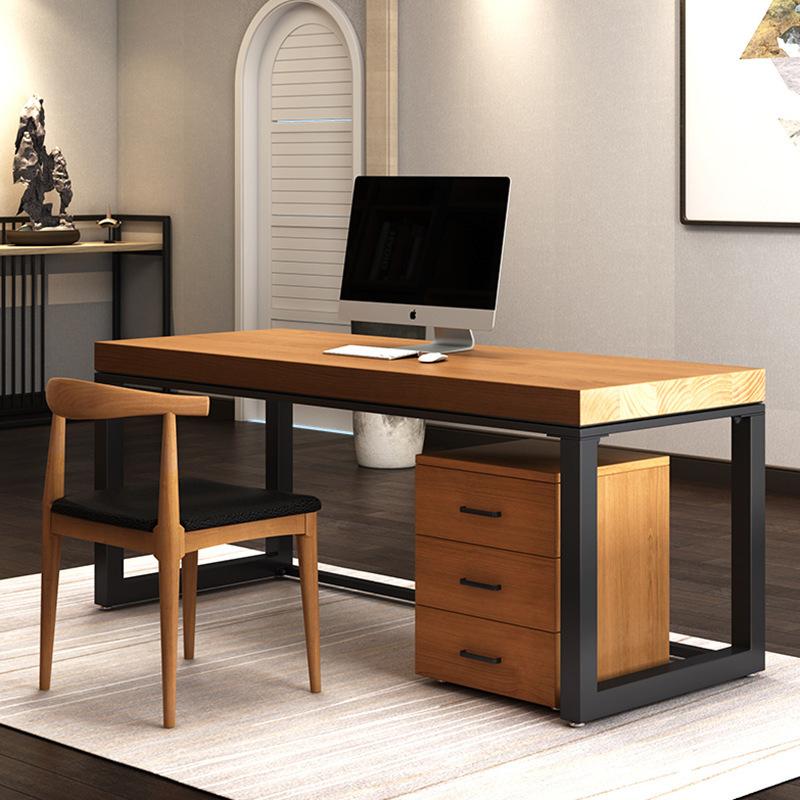美式乡村家用电脑桌书房卧室带书柜学习书桌办公室简约实木办公桌