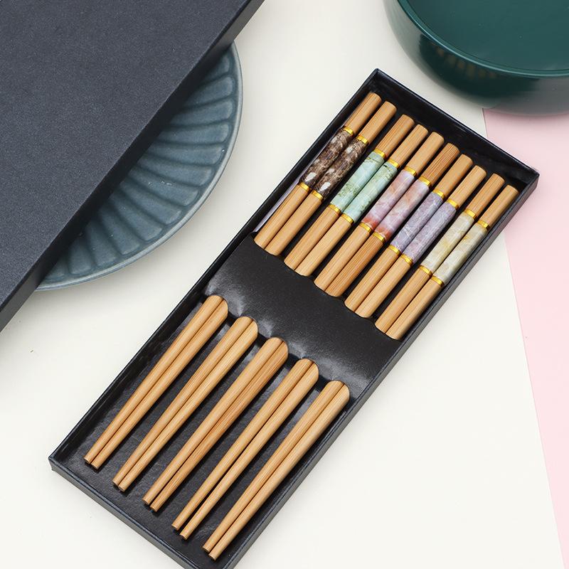 沁物中式防瓷工艺竹筷高档家用筷子24cm成人竹筷简礼品快环保自然