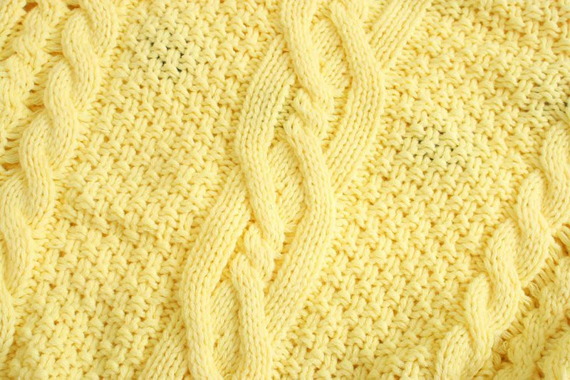 retro cable crochet loose puff sleeve knitted sweater NSAM3562