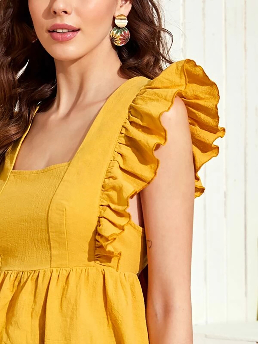 fashion sleeveless stitching ruffled sleeves solid color halter bow tie blouse  NSDF1549