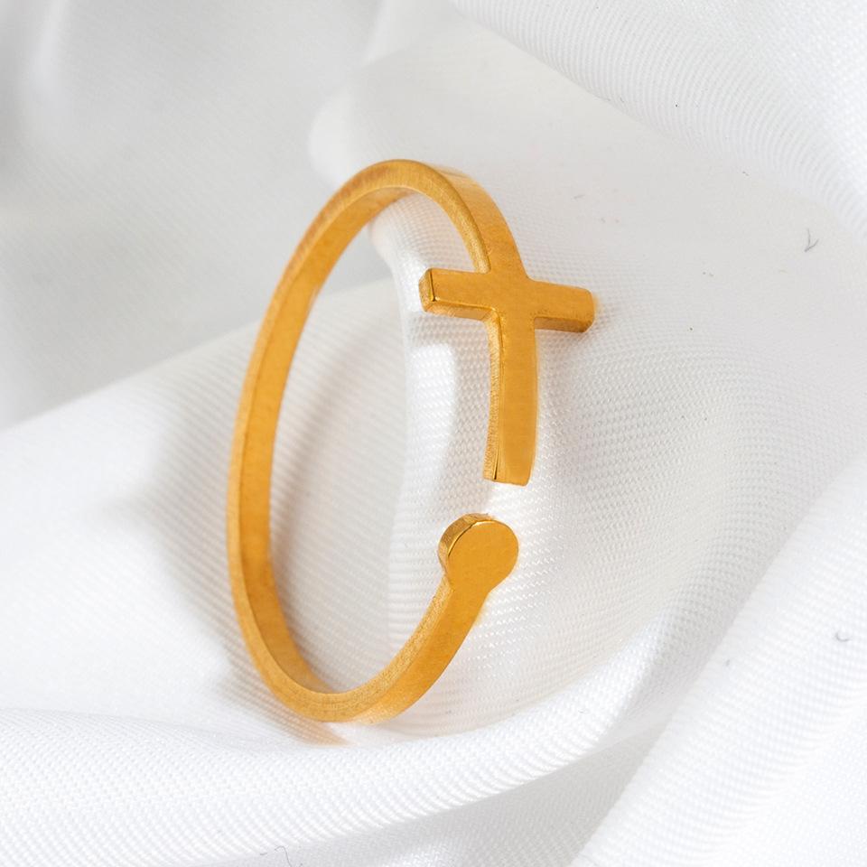 fashion cross stainless steel open ring  NHAKJ340728