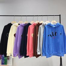 韩国设计师小众潮牌oioi卫衣2020新款连帽刺绣字母卫衣连帽衫批发