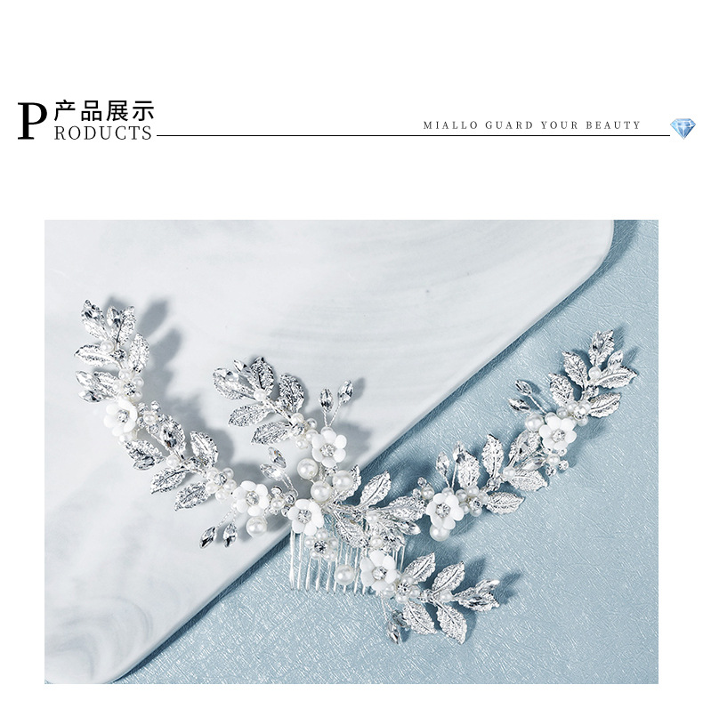 new bridal jewelry pearl crystal hair band metal leaves hand comb soft ceramic flower hair comb wholesale nihaojewelry NHHS221448