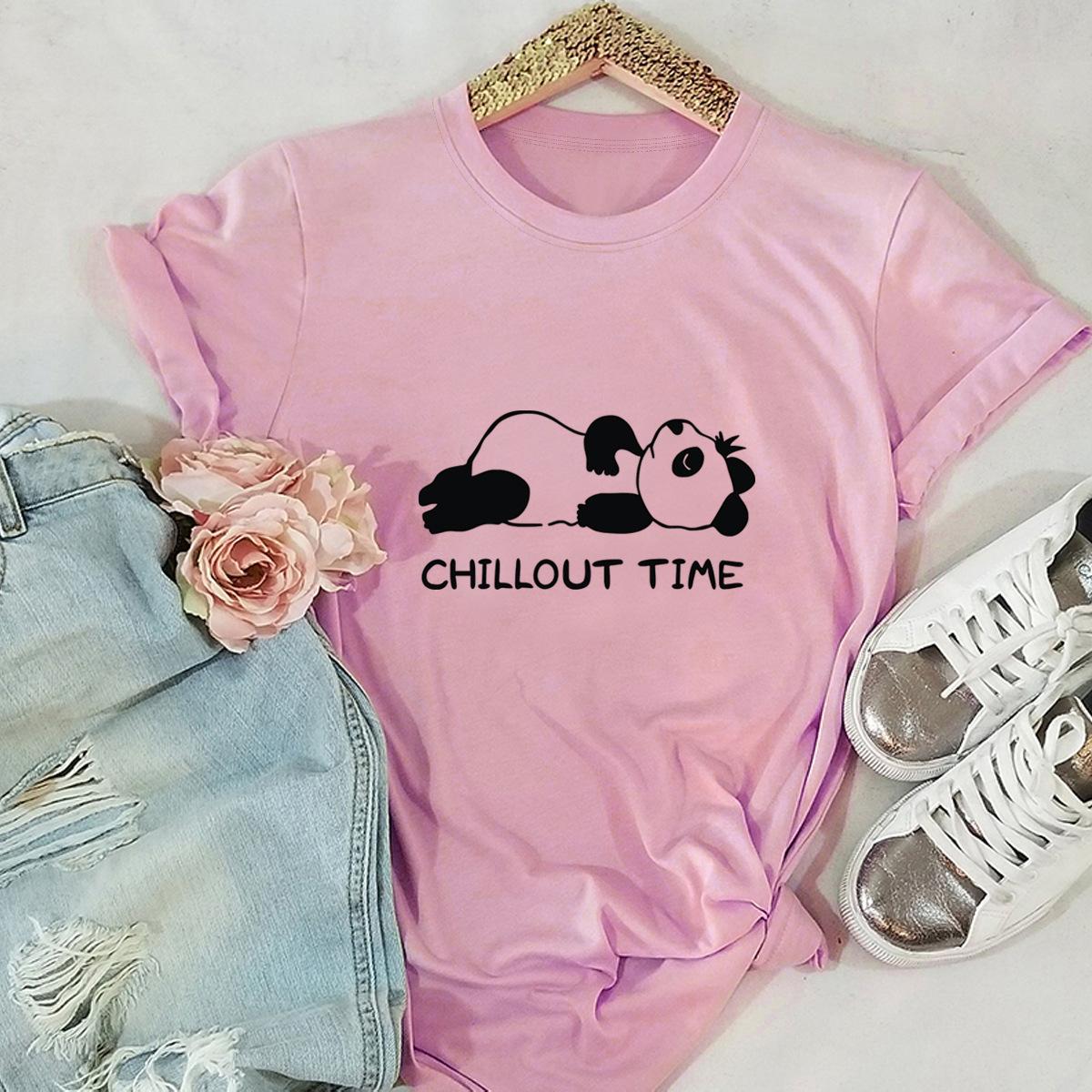 interesting panda print cotton short-sleeved t-shirt women NSSN2696
