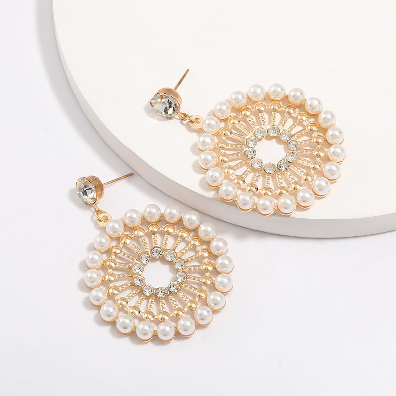 earrings new round alloy diamond and pearl earrings for women NHJE205962