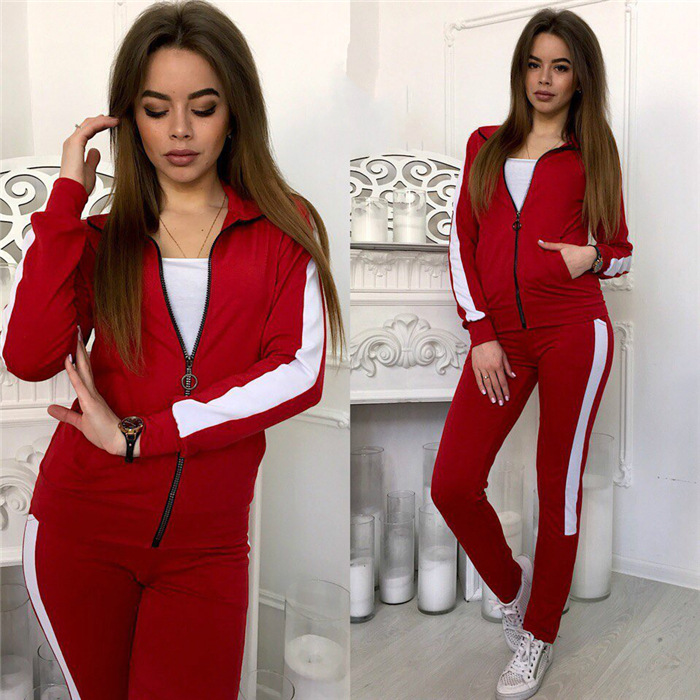 women's zipper long-sleeved sports casual sweater suit NSYF2154