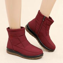 冬季加厚加绒保暖防水中筒雪地靴女士防滑平底中老年短靴妈妈棉鞋