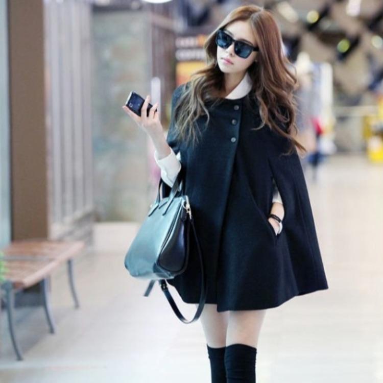 2020秋冬季新款韩版时尚欧美风斗篷大码宽松百搭呢子外套大衣女