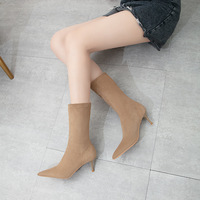 2666-1 the European and American wind fine with high heels for women's shoes show thin suede elastic point show thin thin short boots winter boots