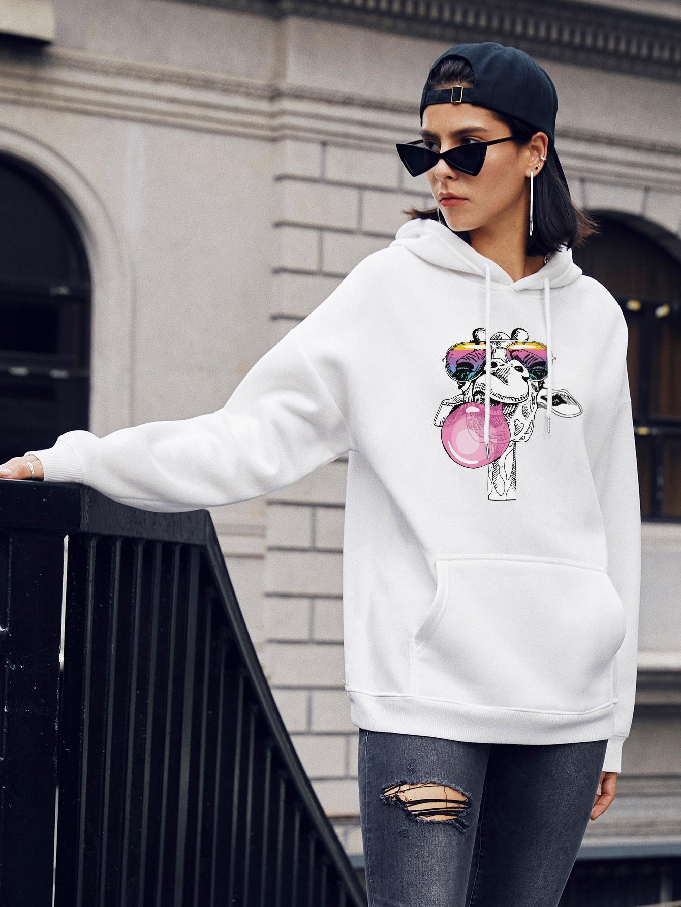 autumn and winter women's cute giraffe street casual hooded sweater NSSN1867