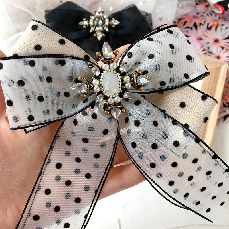 New Korean fashion cross diamond flower double wave point chiffon ribbon bow wild steel clip spring clip hair accessories NHHI217448