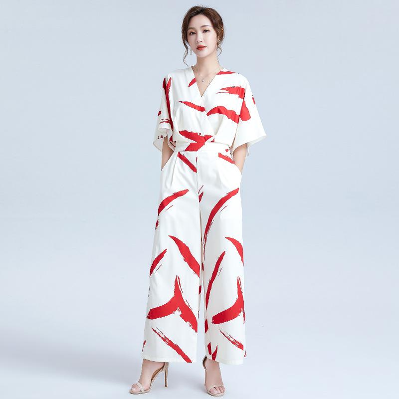 2020 الصيف المرأة الجديدة المطبوعة على النقيض من اللون الخامس الرقبة 3/4 الأكمام بذلة فضفاضة سستة عالية الخصر بنطلون واسع الساق