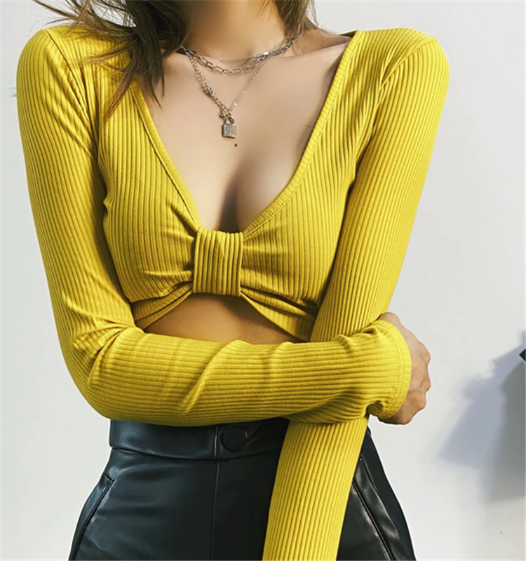 Sexy bow tie bottoming long-sleeved T-shirt NSHS24418