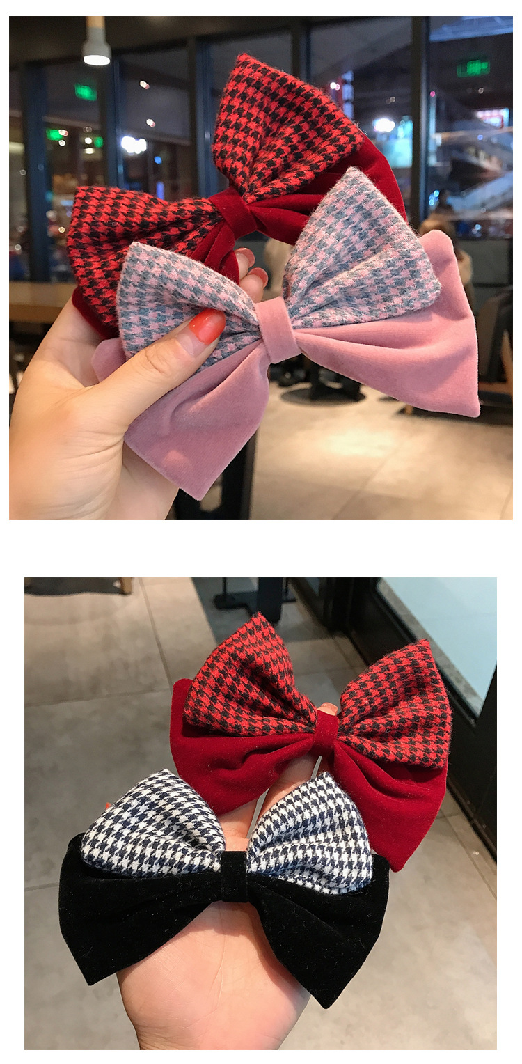 simple velvet plaid big bow hairpin  NHDQ295844