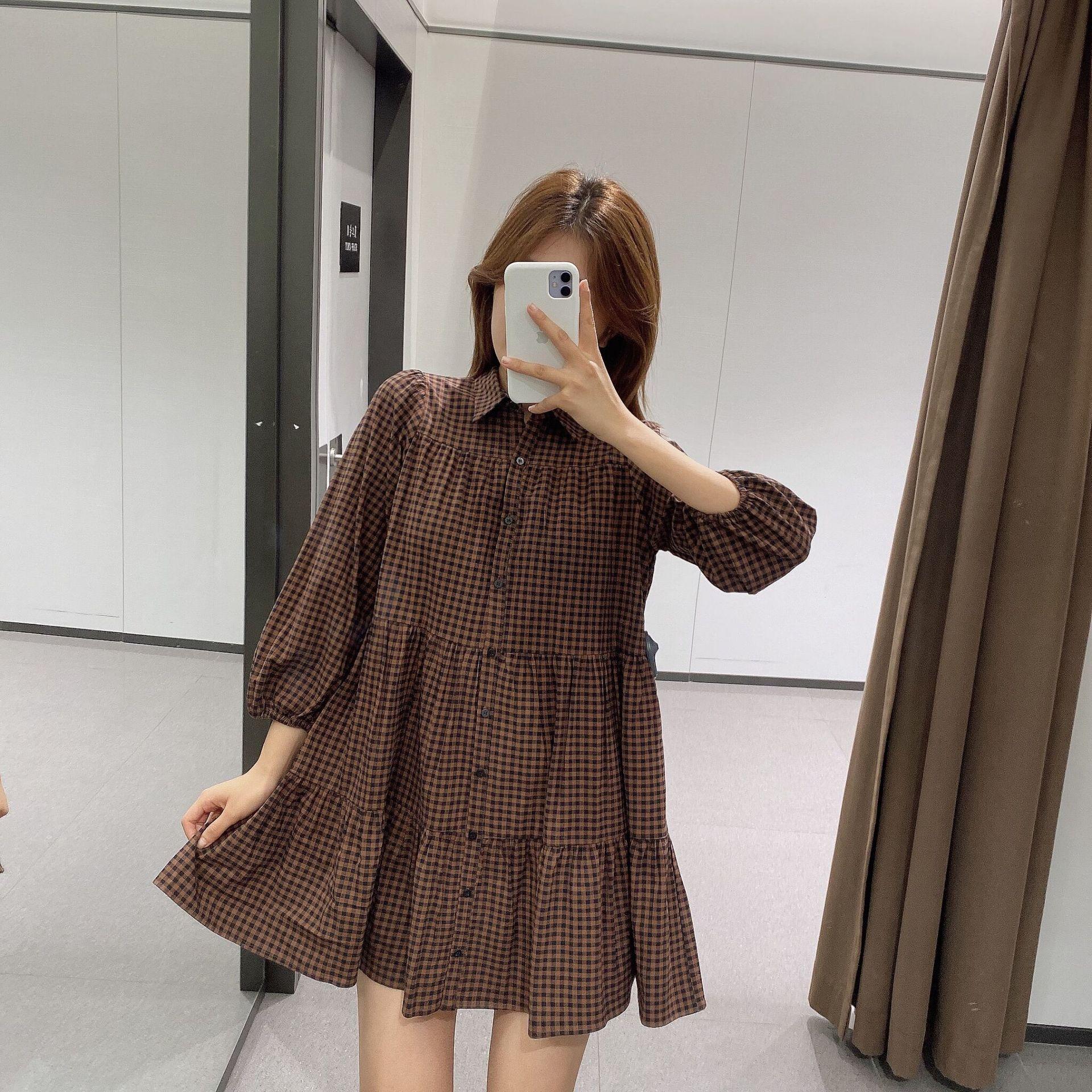 wholesale autumn plaid loose doll dress  NSAM3851
