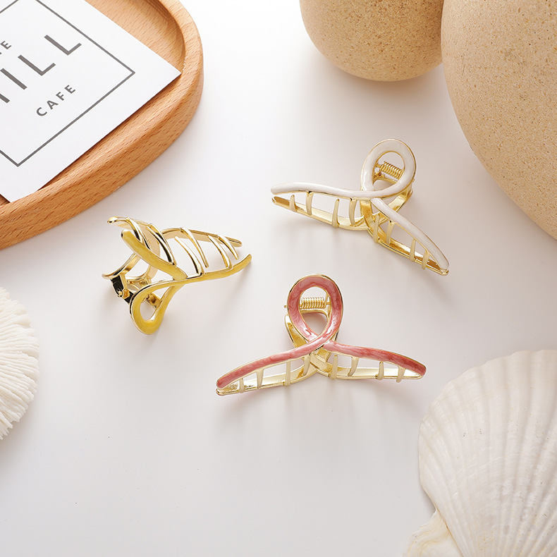 cross grasping clip metal dripping  hairpin wholesale  NHMS243526