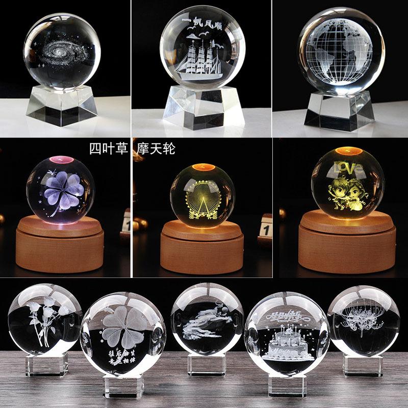厂家直销水晶球内雕3D定制图案太阳系跨镜热卖水晶球摆件量大从优