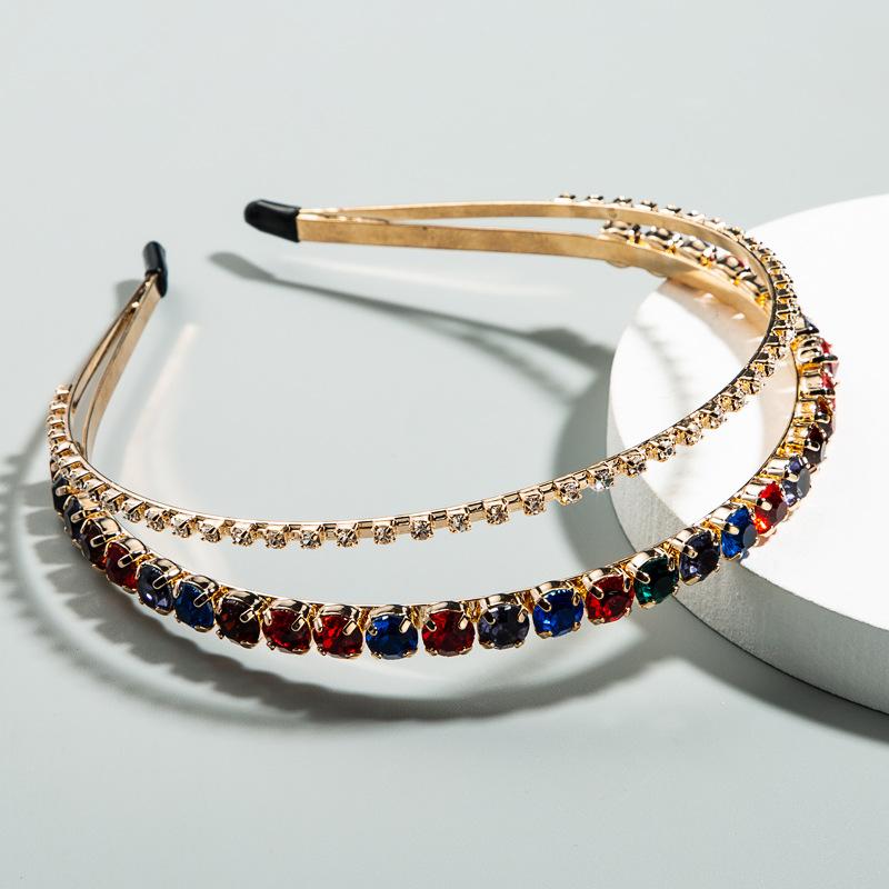 Korean simple double headband fine-edged rhinestone headband two in one anti-skid head buckle wholesale nihaojewelry NHLN225795