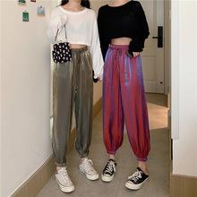 2020西装韩版大码女装新款胖MM显瘦纯色亮丝缎纹阔腿九分灯笼裤