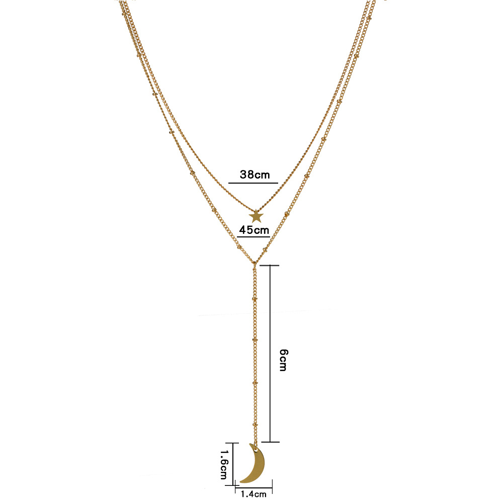 hot-selling simple women's crescent multi-layer niche alloy necklace NHAN243137