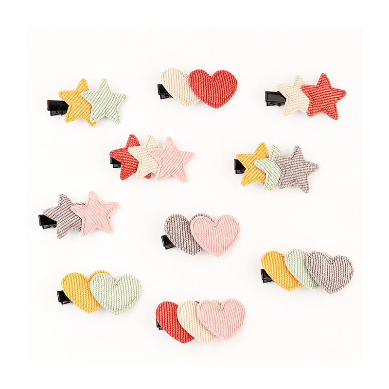 spring and summer new girls knitted love hairpin handmade cute five-pointed star hairpin wholesale nihaojewelry NHNU243427
